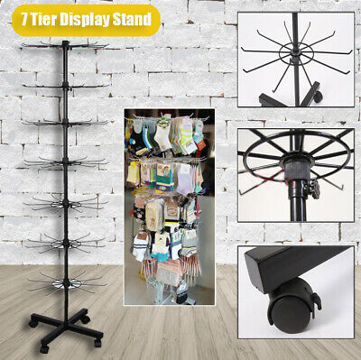 7 Tier Rotating Shop Display Stand 1.6M Floor Rotate Rack Bag Cap Holder Black