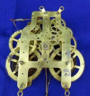"Atq Seth Thomas 3-5/8"" Hip Brass Clock Movement Works New Pendulum Rod Installed"