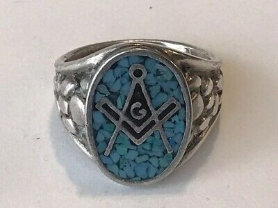 9c97fc4fd5a79 VINTAGE MASONIC SILVER Tone with Turquoise Chip Inlay Ring Size 11.25