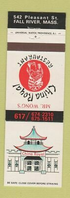 Matchbook Cover - Mr Wong's Chinese Restaurant Fall River MA