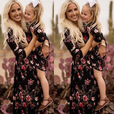Family Dress Mother and Daughter Matching Floral Womens Girls Long Dresses NEW