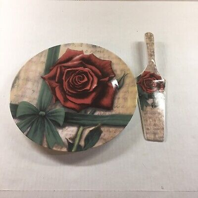 """Today's Living 10.5"""" Ceramic Pie/Cake Plate With Matching Server, Rose Design"""