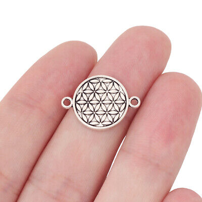 20 x Tibetan Silver Tone Flower of Life Connector Charms for Bracelet Making