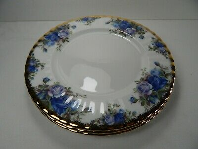 "Set of 3 Royal Albert Moonlight Rose 8"" Salad Plates. 1987 Bone China England"