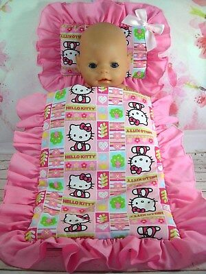 Dolls~Pink Hello Kitty~ Pillow & Quilt Cover Set For~ Bed~Cot~Pram~Cradle ~