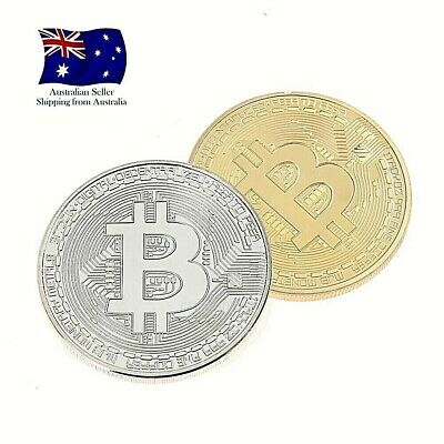 2 PCS Bitcoin Gold and Silver Plated  Bronze Physical BTC coins with Case AU