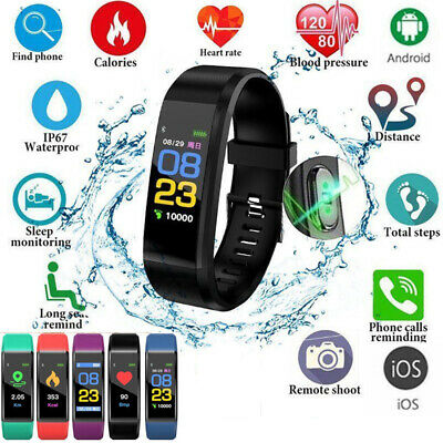Smart Band Watch Bracelet Wristband Fitness Tracker Blood Pressure HeartRate iOS