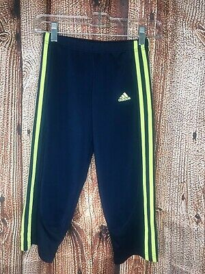 Girls Adidas Blue/Yellow Capri Length Leggings Size Large 12-14 Youth 3 Stripes