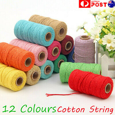 100m 2mm Natural Cotton Rope Cord String Twisted Beige Craft Macrame Artisan HOT