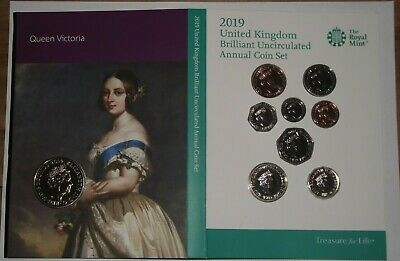 2019 United Kingdom BU Annual coin set plus £5 Queen Victoria coin