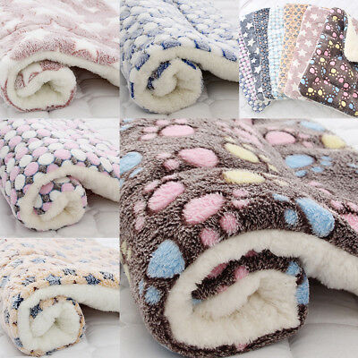 Pet Blanket Dog Cat Soft Coral Fleece Plush Winter Warm Bed Mat Supply