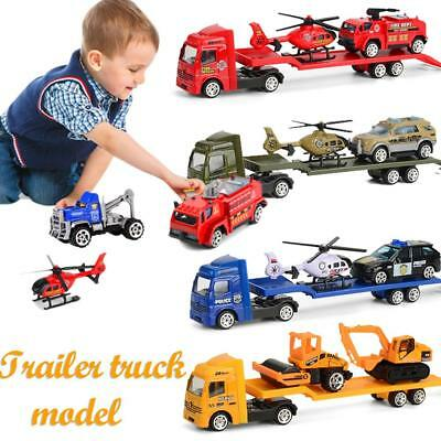 64 Engineering Trailer Loader Truck Car Vehicle Model Toys Set Gift Boys Kids 1