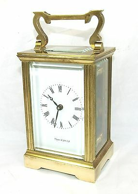 MAPPIN & WEBB Brass Carriage Mantel Clock Timepiece with Key Working Order (71)