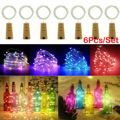 6x 20 LED Cork Copper Wire Fairy String Lights Wine Bottle For Xmas Party Decor
