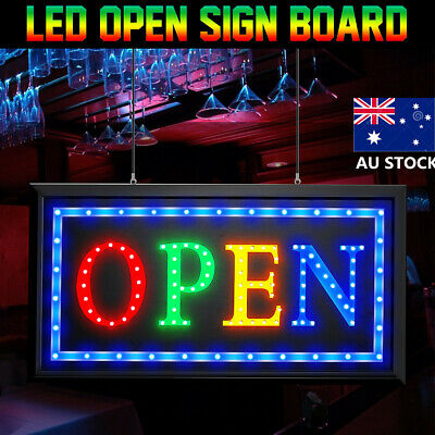 AU LED OPEN Sign Board For Cafe Bar Pub Advertising Light Shop Hotel Hang Signs