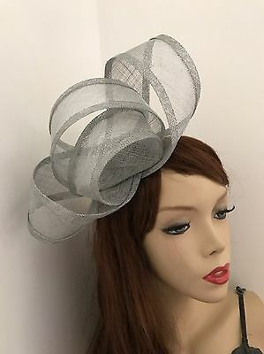 Fascinator Silver Grey Hatinator Gray Loop Wedding Hat Formal Ladies Headpiece