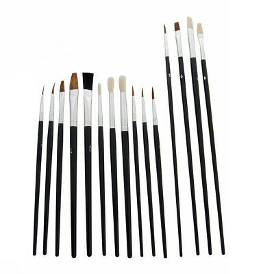 New 15 X Fine Tip Artist Brush Set Small Art Crafts Model Paint Brushes kit