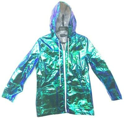1a3ac42eb Cobie Green Holographic Mac Coat UK Size 6 - PrettyLittleThing - New With  Tags