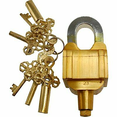 ANTIQUE Style MASTER Padlock - Lock with Key - Brass - HARD TO OPEN (5056)