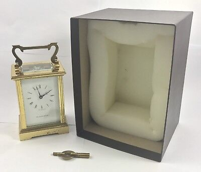 FRASER HART Brass Carriage Mantel Clock Timepiece with Key  Working Order