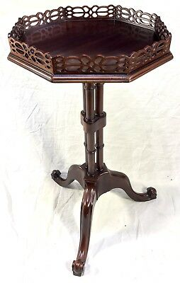 Antique Mahogany Wine Table Kettle Stand Lamp Stand Chinese Chippendale Style