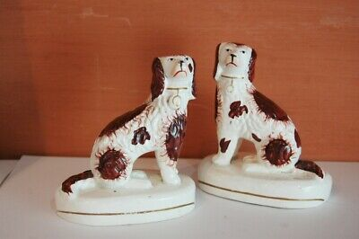 Charming Pair of C9th Seated Staffordshire Spaniels