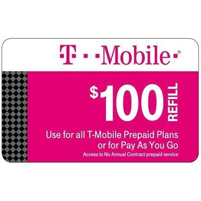 T-Mobile $100 Prepaid Refill Card, Air Time Top-Up/Pin RECHARGE(Direct)