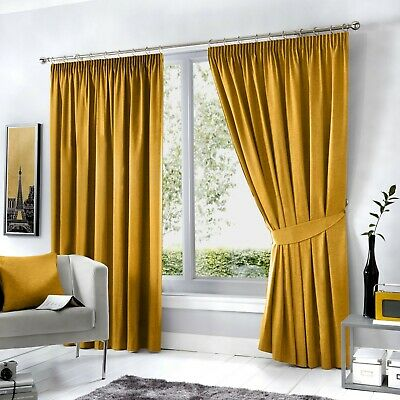 Fusion Dijon Ochre Luxury Thermal/Blackout Pencil Pleat Fully Lined Curtains
