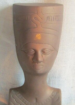 "Nefertiti Bust Vintage 6"" Tall Egyptian  Queen Brass"