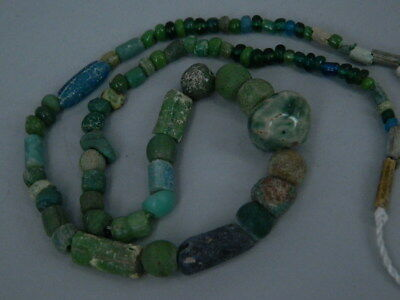 Ancient Glass Beads Strand Islamic 1000 AD #FBE30(F)