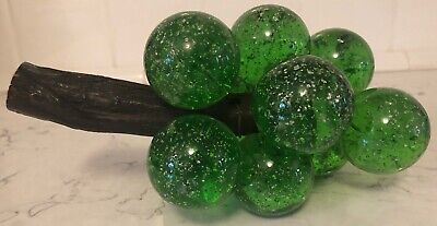 Acrylic Lucite Large GRAPE Cluster GREEN W/GLITTER Inside On Stem MCM Heavy