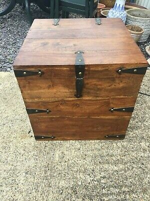 A Contemporary Eastern Stained Pine & Metal Bound Square Hinge Top Blanket Box