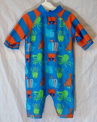 Baby Boys Mini Club Blue Sea Life Whale All in One UV Sun Suit Age 12-18 Months