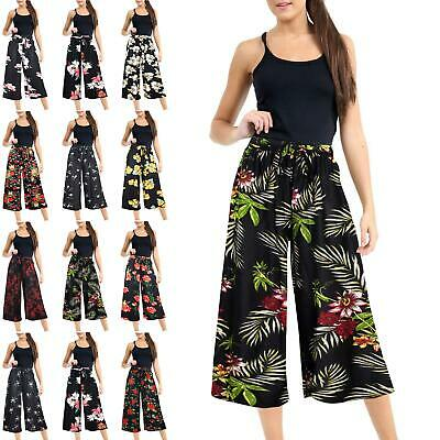 Ladies Womens Elasticated Waist Stretchy Palazzo Floral Wide Leg Trouser Pants