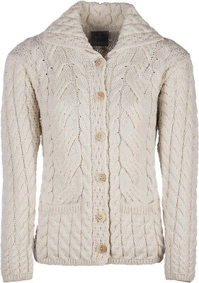 Ladies 6 Button Cable Merino Wool Cardigan by Aran Mills - Cream