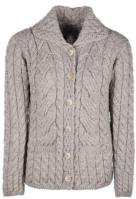 Ladies 6 Button Cable Merino Wool Cardigan by Aran Mills - Oatmeal