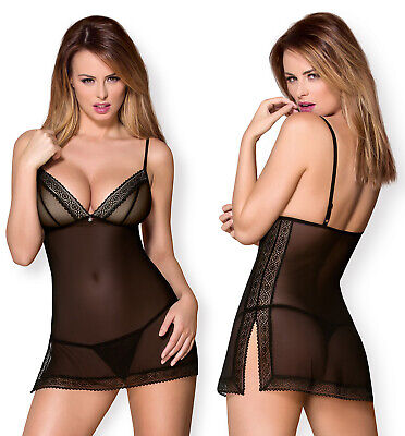 OBSESSIVE 862 Luxury Super Soft Decorative Padded Chemise and Matching Thong Set
