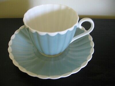 Susie Cooper Blue Scalloped Tea Cup And Saucer