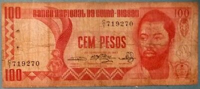 Guinea Bissau 100 Pesos Issued 28.02. 1983, P 6, Scarce Note