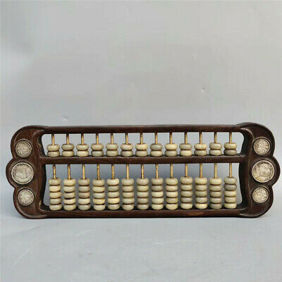 Collection old Chinese solid wood imlay silvering coin jade beads abacus