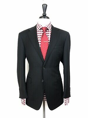 Canali Mens Black Striped Slim Fit Wool Suit 40R 32W 32L Recent