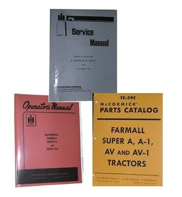 FARMALL Super A AV SERVICE OWNERS & PARTS 3 MANUAL Set