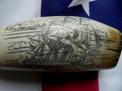 """Faux Scrimshaw Ghost Ship """"The Brandenberg & Royal Coat of Arms"""" Museum Quality"""