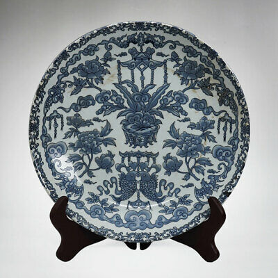 Amazing Chinese Blue And White Porcelain Plate Flowers Painting Marks Yongzheng