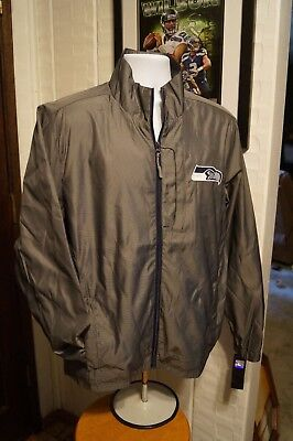 low priced 8f937 ade64 SEATTLE SEAHAWKS RAIN G-III Sports Executive Full Zip Wolf Gray Jacket Coat  Lg