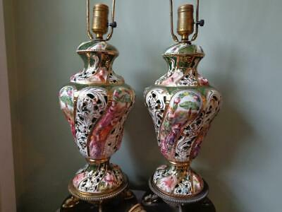 Pair of Antique Capodimonte Porcelain Reticulated/Brass Base Table Lamps