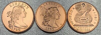 Lot/3 1796-1793 One Cent & 1787 Fugio Cent Copper Gallery Mint Reproductions BU