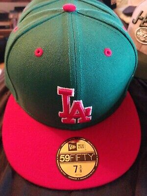e5888933673af1 New Era 59Fifty Hat MLB Los Angeles Dodgers red green LA Fitted 5950 Cap 7 5