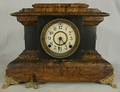 rare SETH THOMAS mantel mantle clock ANTIQUE key lion head ADAMANTINE WORKS