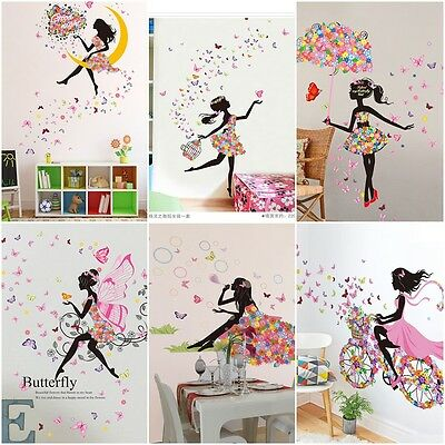 Flower Girl Butterfly Fairy Art Wall Sticker Kids Bed Room Decoration PVC Decals